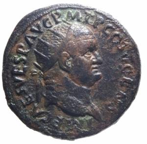obverse: Impero Romano. Vespasiano. 69-79 d.C. Dupondio. Ae. 74 d.C. D/ IMP CAES VESP AVG PM T P COS V CENS. Testa radiata a destra. R/ FELICITAS PVBLICA SC. Felicitas stante a sinistra tiene caduceo e cornucopia. RIC 554. Peso gr. 10,86. Diametro mm. 27,00. BB+.>>