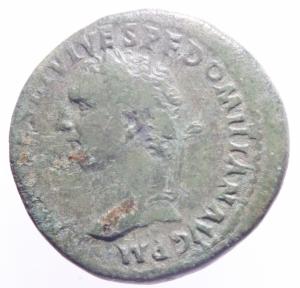obverse: Impero Romano. Domiziano Cesare. 69-81 d.C. Asse. 80-81 d.C. AE. D/ CAES DIVI AVG VESP PF DOMITIAN COS VII Testa laureata a sinistra. R/ TR POT COS VII Minerva stante verso sinistra con lancia e scudo. RIC, Tito 296. Peso 12,25 gr. Diametro 28,00 mm. qSPL. Patina Verde.>>