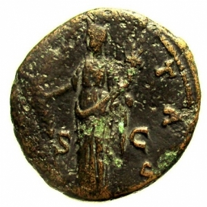 reverse: Impero Romano. Marco Aurelio. 161-180 d.C. Asse : D\ AVRELIVS CAESAR AVG PII F COS II Testa verso destra. R\ HILARITAS Hilaritas con palmizio e cornucopia tra SC. RIC1260. Peso 10,2 gr. Diametro 25,8 mm. qBB.