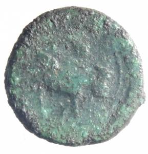 reverse: Mondo Greco.Campania, Neapolis. (Circa 250-225 A.C). AE 15mm. D/ Testa laureata di Apollo a destra. R/ Toro androcefalo a destra, AE, 3,95 gr.qBB