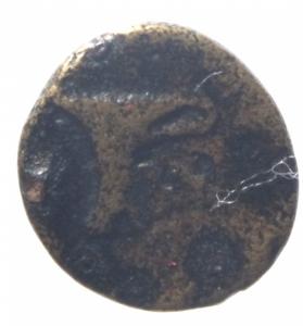 reverse: Mondo Greco. Aeolis. Kyme. c. 350-250 a.C. Ae. D/ Aquila stante a destra. R/ K-Y coppa. BMC 16-20; SNG von Aulock 1625; SNG Newcastle SNGuk_1301_0449. Peso 1,00 gr. BB.