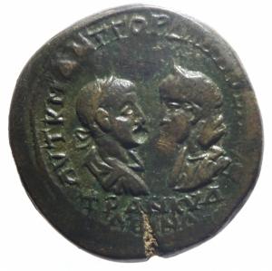obverse: Provincia Romana. Gordiano III e Tranquillina. Anchialus, Tracia. 238-244 d.C. AE. D/ I busti affrontati di Gordiano III e Tranquillina. R/ Tyche, stante a sinistra, tiene timone e cornucopia. Varbanov 735. Peso gr. 12,14. Diametro mm. 25.Bel BB+.>>