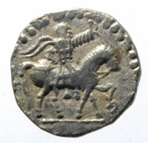 obverse: Mondo Greco. Baktria. Azes II. 35 - 5 a.C. Dracma. Taxila. D\ il Re a cavallo. R/ Zeus con scettro. Mitch. 829a. Peso 2,25 gr. Diametro 17,00 mm. BB.
