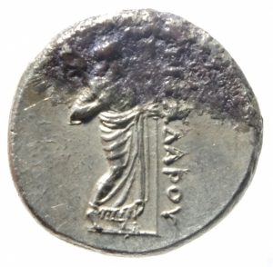 reverse: Mondo Greco.Satrapi della Caria. Pixodaros. Circa 341/0-336/5 a.C. AR Didracma zecca di Halikarnassos .D\ Testa di Apollo a frontale di 3\4 R/ Zeus Labraundos in piedi con scettro . Pixodarus 28 (A3/P14); Konuk, Identities 30; SNG Keckman 280.Peso 6,84 gr.Diametro 21,00 mm . Incrostazioni altrimenti oltre lo SPL. Ex Classical Numismatic Group Electronic Auction 425 (25 July 2018), lot 196 (cleaned since); Leu inventory with hoard ticket; Pixodarus Hoard (CH 9.421) [unillustrated]. This coin is likely Pixodarus 28f, m, or n, but the weights were not recorded in the study for these pieces.