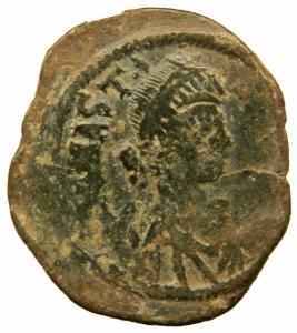 obverse: Bizantini. Anastasio I (491-518). Follis, Costantinopoli. D/ Busto a destra. R/ Grande M tra due stelle. Sopra, croce. Sotto, Δ. D.O. 23. gr. 18,00. Diametro 36,00 mm.AE. BB.=