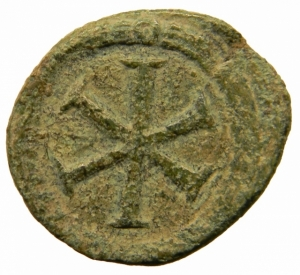 reverse: Bizantini. Giustiniano I. 527-564 d.C. Decanummo. Ae. Zecca Incerta. Ravenna?. DOC 368; Sear 336. Peso gr. 3,70. Diametro mm. 14,50. BB+. Patina verde. R.=