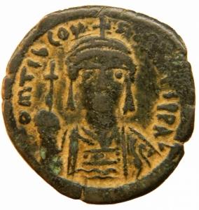 obverse: Bizantini. Tiberio II Costantino. 578-582 d.C. Follis. Æ. Nicomedia. D/ O m TIb CONS-TANT P P AVG, Busto frontale. R/ M ANNO e croce G III, in esergo CON . SEAR 428 Peso 14,35 gr. Diametro 27,43 mm. qBBBB+.=