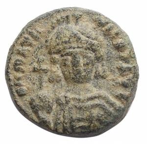 obverse: Bizantini -Maurizio Tiberio (582-602).Decanummo, Catania.D/ Busto di fronte.R/ ANNO XXI. Grande I.Spahr 19.gr. 3.02.AE.SPL.