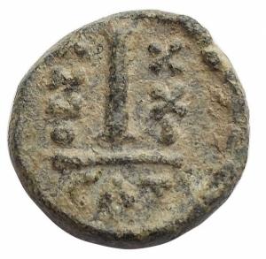 reverse: Bizantini -Maurizio Tiberio (582-602).Decanummo, Catania.D/ Busto di fronte.R/ ANNO XXI. Grande I.Spahr 19.gr. 3.02.AE.SPL.