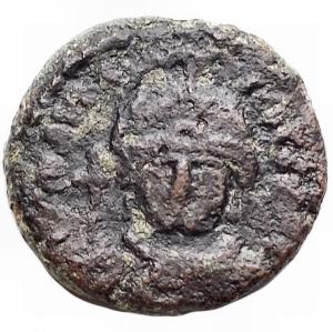 obverse: Bizantini -Maurizio Tiberio (582-602).Decanummo, Siracusa.D/ Busto di fronte.R/ Grande X. Nei quadranti, SE / CI / LI / A.D.O. 281.gr. 2.61. mm 15,04.AE.BB+. R
