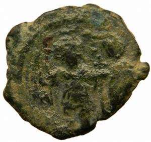 obverse: Bizantini. Eraclio (610-641). Mezzo follis, Costantinopoli. D/ Eraclio ed Eraclio Costantino stanti di fronte. R/ Grande K. Anno XX. D.O. 118. AE. g. 6,00.BB.=