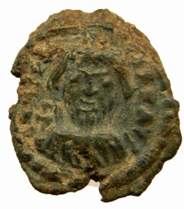 obverse: Bizantini. Eraclio. 610-641 d.C. Decanummo. Catania. D\ Busto frontale.R\ grande I ANNO X.SB.855.SP.31 Peso 4,47 gr. Diametro 14,51 mm. SPL.ex Varesi 60 lotto 1302