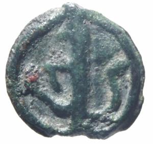 obverse: Bizantini.Romano IV Diogenes (?) (1068-1071). Cherson D/ P ω monogramma R/ ?.Peso 2,10 gr.Diametro 19,00mm.BB