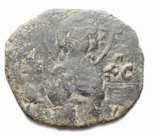 obverse: Bizantini -Nicephorus III Botaniates. 1078-1081. AE. 2,68 g. d/ Cristo stante r / Astro. MB-qBB. Patina verde