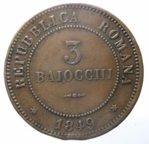 reverse: Zecche Italiane. Bologna. Repubblica Romana. 1849. 3 baiocchi 1849. Ae. Pag.260. Peso gr 26,44. Diametro mm 37,50. BB+. Colpetti al bordo. NC.>>>