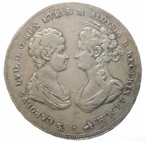 obverse: Zecche Italiane.Firenze. Carlo Ludovico di Borbone e Maria Luigia reggente (1803-1807), Francescone, 1806; AR CNI 22/3; Galeotti V 1/3; MIR 425/1. Patina di medagliere.BB+.^^^