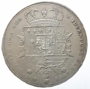 reverse: Zecche Italiane.Firenze. Carlo Ludovico di Borbone e Maria Luigia reggente (1803-1807), Francescone, 1806; AR CNI 22/3; Galeotti V 1/3; MIR 425/1. Patina di medagliere.BB+.^^^