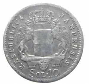 obverse: Zecche Italiane.Genova. Repubblica Genovese (1814). 10 soldi 1814. AG.BB.>>>