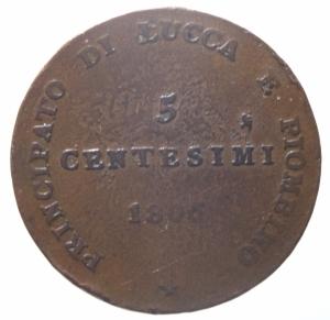 reverse: Zecche Italiane. Lucca e Piombino. Elisa Bonaparte e Felice Baciocchi (1805-1814). 5 centesimi 1806. Gig.9 var. gr. 9.50 27.00mm. R. AE. Bel MB.^^^