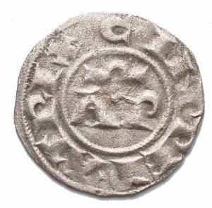 obverse: Zecche Italiane - Messina o Brindisi. Enrico VI (Imperatore 1191-1197; Re di Sicilia 1194-1197) e Costanza d Altavilla (1195-1196), Denaro 1194-1196; BI (g 0,63; mm16,5) d/ HE INPERATOR, croce patente con astro a sei raggi nel secondo e terzo quarto r/ C INPERATRIX, nel campo, AP sormontate da Ω, intorno contorno perlinato. BB++. Argentatura