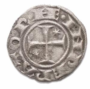 reverse: Zecche Italiane - Messina o Brindisi. Enrico VI (Imperatore 1191-1197; Re di Sicilia 1194-1197) e Costanza d Altavilla (1195-1196), Denaro 1194-1196; BI (g 0,63; mm16,5) d/ HE INPERATOR, croce patente con astro a sei raggi nel secondo e terzo quarto r/ C INPERATRIX, nel campo, AP sormontate da Ω, intorno contorno perlinato. BB++. Argentatura