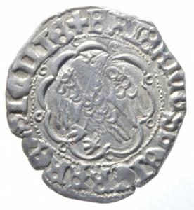 reverse: Zecche Italiane.Messina. Giovanni (1458-1479) Pierreale. D/ Stemma. R/ Aquila. AG. Sp.28 var. qSPL.^^^