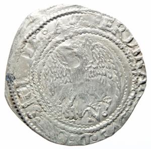 obverse: Zecche Italiane. Messina. Ferdinando il Cattolico. 1479-1516. Tarì sigla A? N Sphar 151-153. MIR 244. Peso 3,50gr. Diametro 28,0 mm. BB. RR.