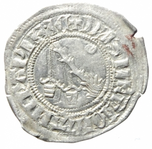 reverse: Zecche Italiane. Milano. Galeazzo Visconti. 1355-78. Sesino. Ag. D/ Cimiero R/Tizzone con 3 secchie .CNI 13\19. Peso gr. 1,06 Diametro mm. 21,00. SPL.