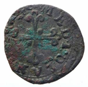 reverse: Zecche Italiane. Milano. Filippo III. 1598-1621. Parpagliola 1603. MI.Peso 1,25 gr. Cr. 20b. qBB. RR.