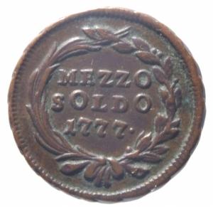reverse: Zecche Italiane. Milano. Maria Teresa d Asburgo. Mezzo soldo 1777.Peso 3,55 gr.BB.^^^