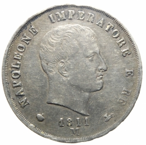 obverse: Zecche Italiane.Milano. Napoleone I (1805-1814). 5 lire 1811. Pag. 29. Mont. 224. Cr. 28D. AG. mm. 37.50 BB/BB+.>>>
