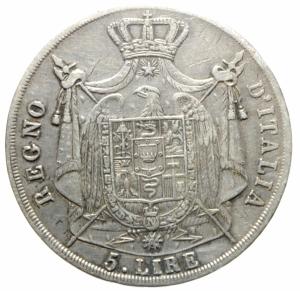 reverse: Zecche Italiane.Milano. Napoleone I (1805-1814). 5 lire 1811. Pag. 29. Mont. 224. Cr. 28D. AG. mm. 37.50 BB/BB+.>>>