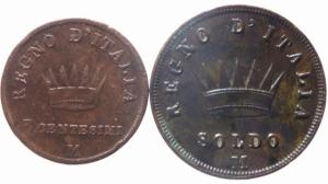 reverse: Zecche Italiane. Milano. Napoleone I. 1805-1814. Soldo 1813+( 3 centesimi 1811 BB )AE. Peso 10,05 gr.Pag. 78. Mont. 303.qSPL.^^^