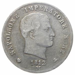 obverse: Zecche Italiane.Regno d  Italia. Napoleone Imperatore e Re. 5 Lire Milano 1812. peso 24,50 g. Diametro 37/38 mm. qBB\BB+.^^^.