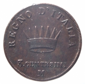 reverse: Zecche Italiane. Milano. Napoleone I. 3 centesimi 1808.Peso 6,35 gr. BB.^^^