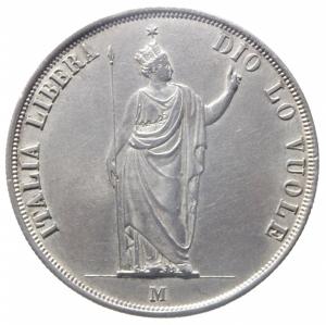 obverse: Zecche Italiane.Milano, Governo Provvisorio di Lombardia. 5 Lire, 1848; AR (g 24,95; mm 37; h 6); Pagani 213; Crippa 3a. Patina di collezione. qSPL.^^^