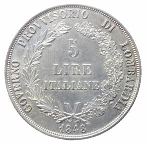 reverse: Zecche Italiane.Milano, Governo Provvisorio di Lombardia. 5 Lire, 1848; AR (g 24,95; mm 37; h 6); Pagani 213; Crippa 3a. Patina di collezione. qSPL.^^^