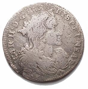 obverse: Zecche Italiane - Napoli.Carlo II. 1674-1700.Tarì 1696.Ag. Magliocca 27.Peso g 3,7.Diametro mm 23,9. MB-qBB