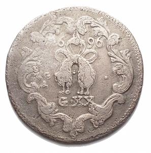 reverse: Zecche Italiane - Napoli.Carlo II. 1674-1700.Tarì 1696.Ag. Magliocca 27.Peso g 3,7.Diametro mm 23,9. MB-qBB