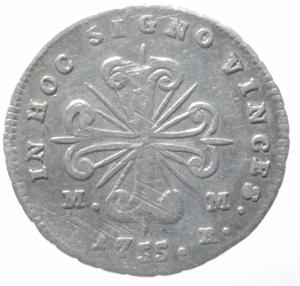 reverse: Zecche Italiane. Napoli. Carlo di Borbone. 1734-1759. Carlino 1755. P.R. 44. Peso 2,00 gr. Diametro 20 mm. qBB. R.^^^