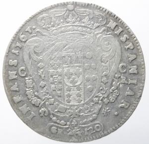 reverse: Zecche Italiane.Napoli. Ferdinando IV (I periodo 1759-1799). 120 grana o piastra 1767. MIR 366. P.R. 46. AR. R. MB+/BB.^^^