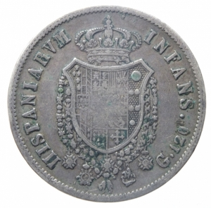 reverse: Zecche Italiane. Napoli. Ferdinando I. 1816-1825. 120 grana 1818. Ag.Peso 27,30 gr.Ag. BB.^^^.
