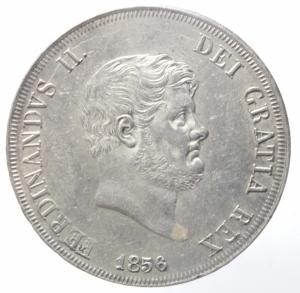 obverse: Zecche Italiane. Napoli. Ferdinando II. 1830-1859. 120 grana 1856. Ar. D/ Testa a destra. R/ stemma 8 sovrapposti. Pagani 223.Soliti graffi di conio.qSPL.^^^