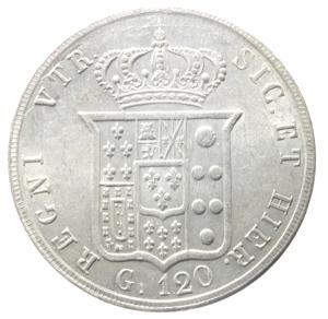 reverse: Zecche Italiane. Napoli. Ferdinando II. 1830-1859. 120 grana 1856. Ar. D/ Testa a destra. R/ stemma 8 sovrapposti. Pagani 223.Soliti graffi di conio.qSPL.^^^