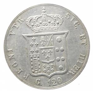 reverse: Zecche Italiane. Napoli. Ferdinando II. 1830-1859. 120 grana 1857. Ar. D/ Testa a destra. R/. BB+\qSPL.^^^