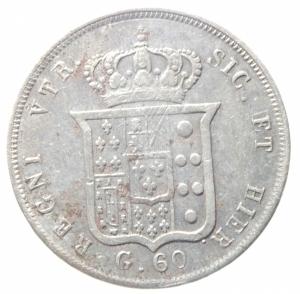 reverse: Zecche Italiane. Napoli. Ferdinando II (1830-1859). 60 grana 1855. Pag.247. AG. qBB\BB+.^^^