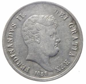 obverse: Zecche Italiane.Napoli. Ferdinando II di Borbone (1830-1859). Mezza piastra da 60 grana 1858 AG. Pagani 250. P.R. 112. MIR 507/11.qBB\BB.^^^
