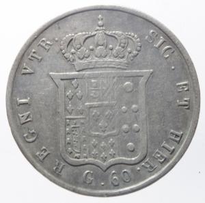 reverse: Zecche Italiane.Napoli. Ferdinando II di Borbone (1830-1859). Mezza piastra da 60 grana 1858 AG. Pagani 250. P.R. 112. MIR 507/11.qBB\BB.^^^