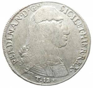 obverse: Zecche Italiane.Palermo. Ferdinando III (1759-1816). 12 tarì 1798 sigle Nd OV, Nicola d Orgemont Vigevi zecchiere. Sp. 28. MIR 603/3. AG. g. 26.88 mm. 38.00 Bel BB.>>>