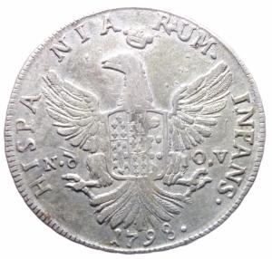 reverse: Zecche Italiane.Palermo. Ferdinando III (1759-1816). 12 tarì 1798 sigle Nd OV, Nicola d Orgemont Vigevi zecchiere. Sp. 28. MIR 603/3. AG. g. 26.88 mm. 38.00 Bel BB.>>>